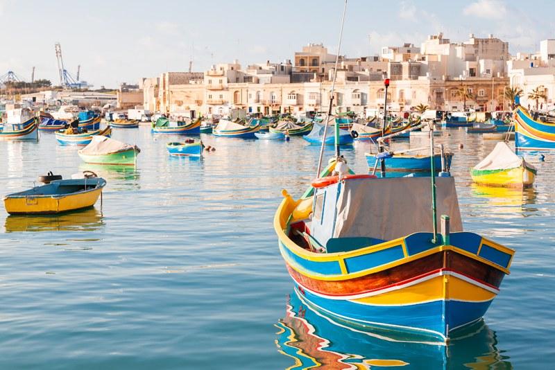 colourful boats in Malta harbour