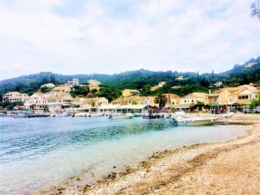 Corfu beach and houses