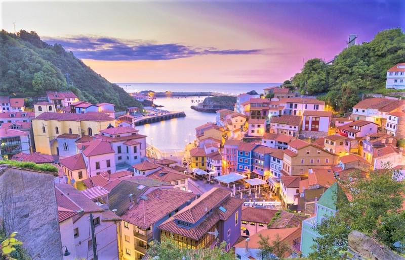 Asturias coastline houses colourful
