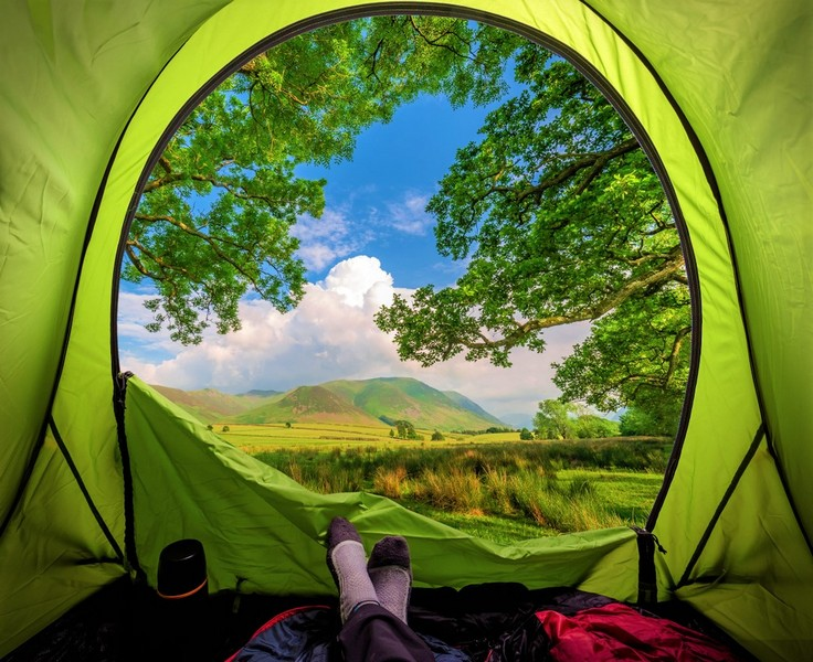 view from a tent