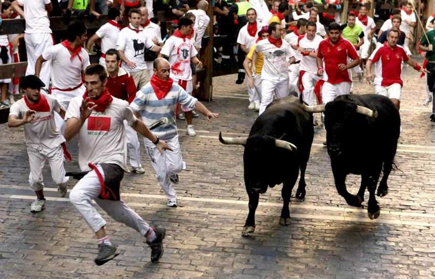 The running of the bulls, Pamplona