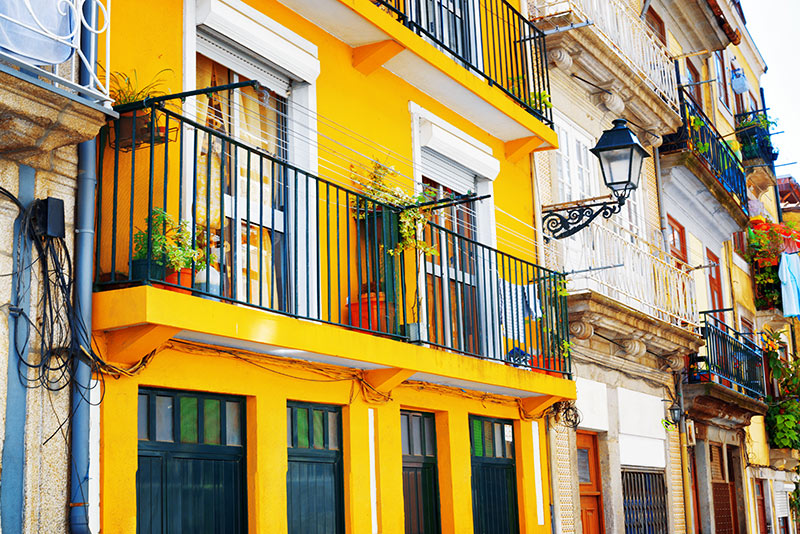 Colourful houses in Porto Portugal