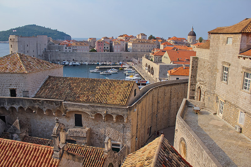 Dubrovnik city walls and port