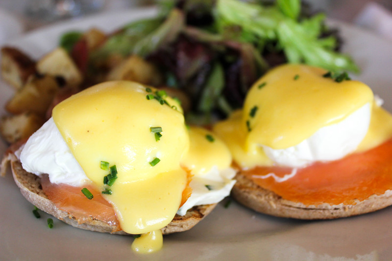 Eggs Benedict at Pates Et Traditions in Brooklyn, New York