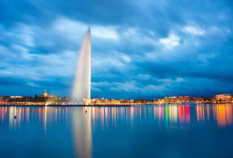 Geneva Switzerland Fountain Lake