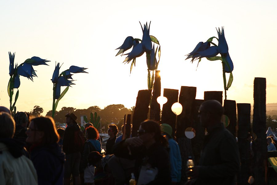 Flags at sundown, Glastobury - www.glastonburyfestivals.co.uk