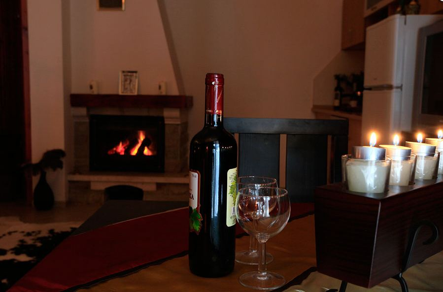 Red wine and a wood fire