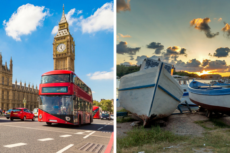 London red buses vs Sunny Beach boats