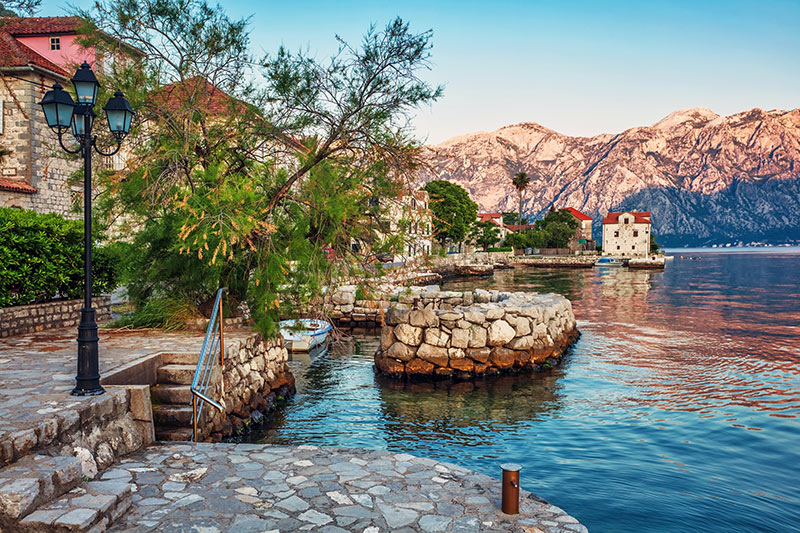 seafront with sea and mountain views in Montenegro