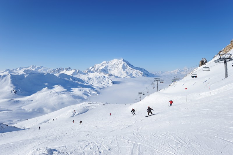 Sunny ski slopes in Val D'Isere, France