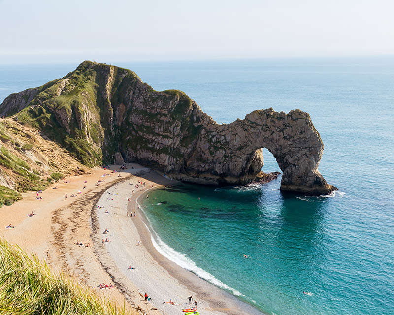 The famous rock arch at Durdle Door Dorset England UK