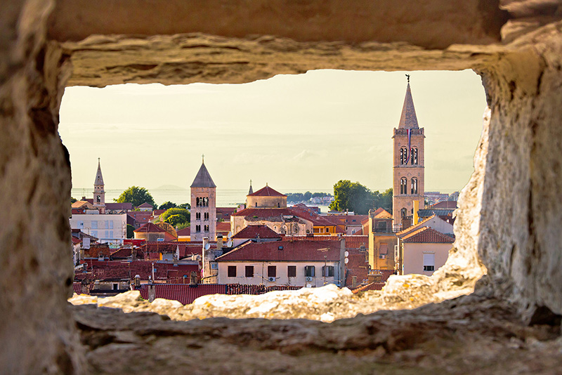 Zadar through a stone window