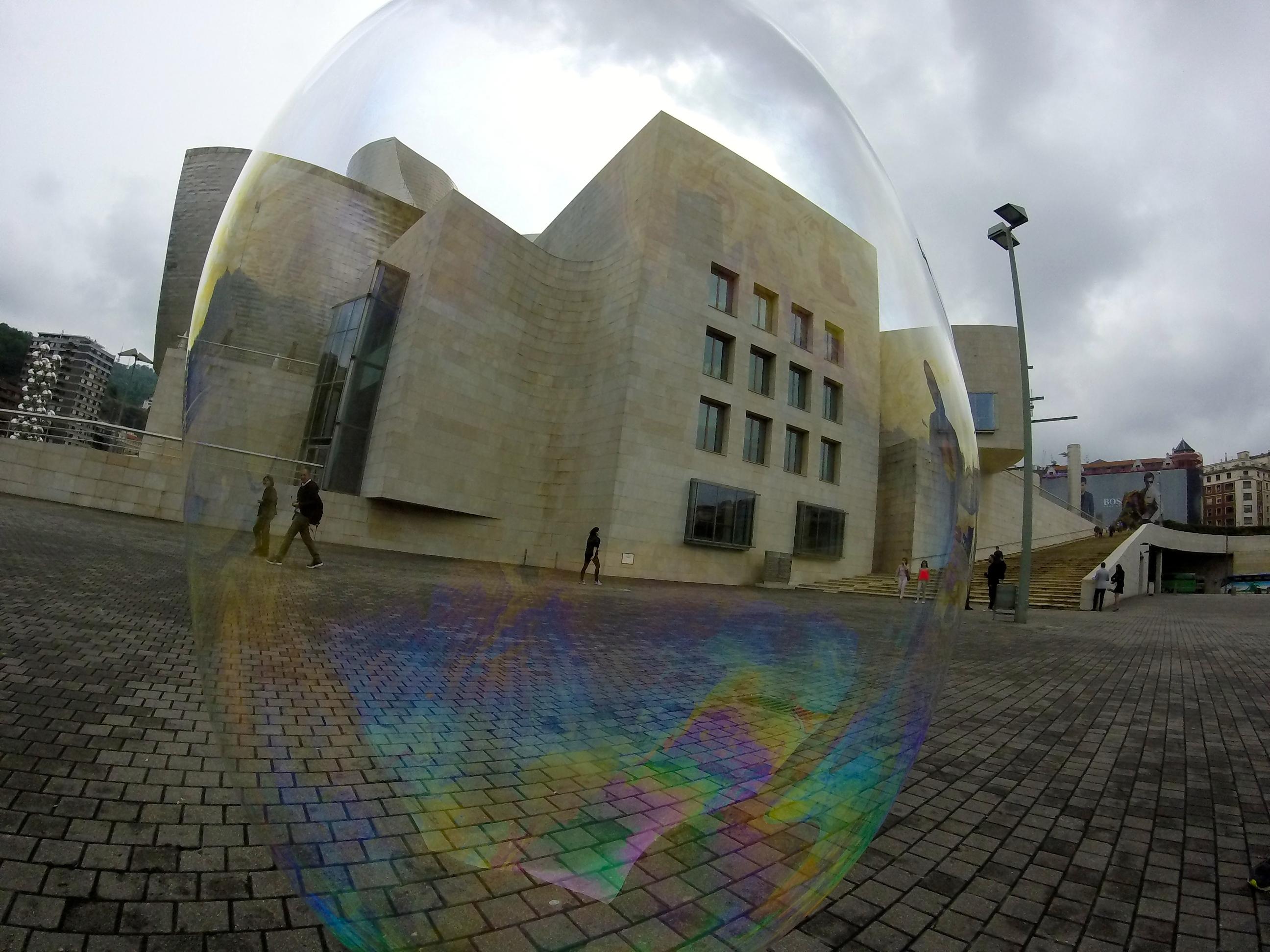 Bubble blowing in Bilbao