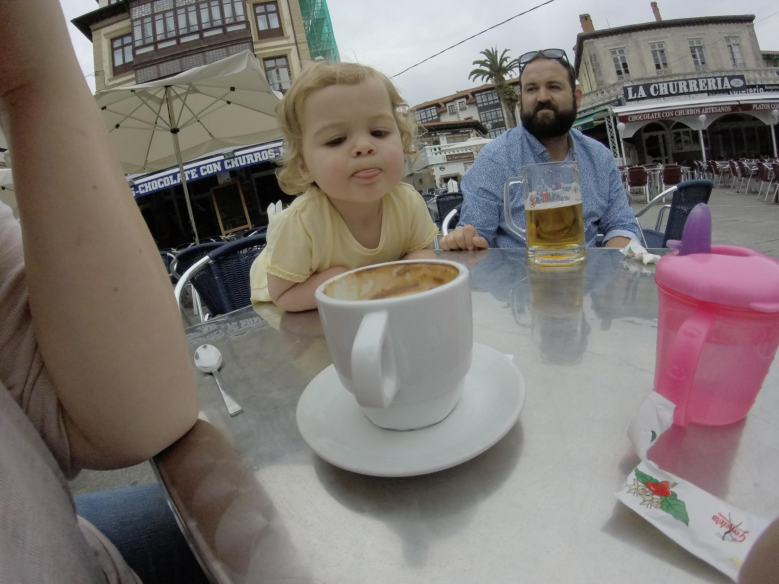 Taking a coffee break in Comillas, Spain