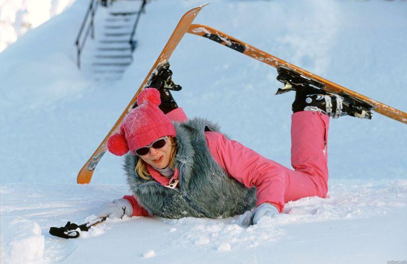 bridget jones learning to ski