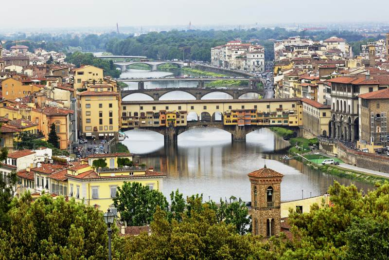 a stunning view of arno river in florence