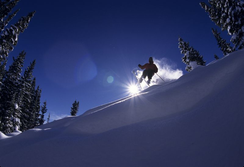skiing in deep powder