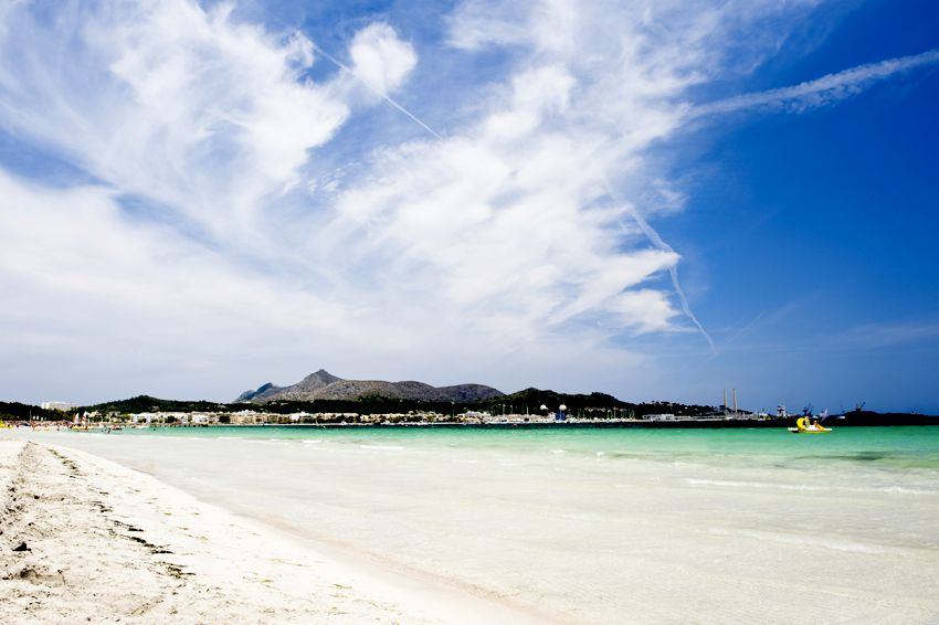 White sand beach in Mallorca.