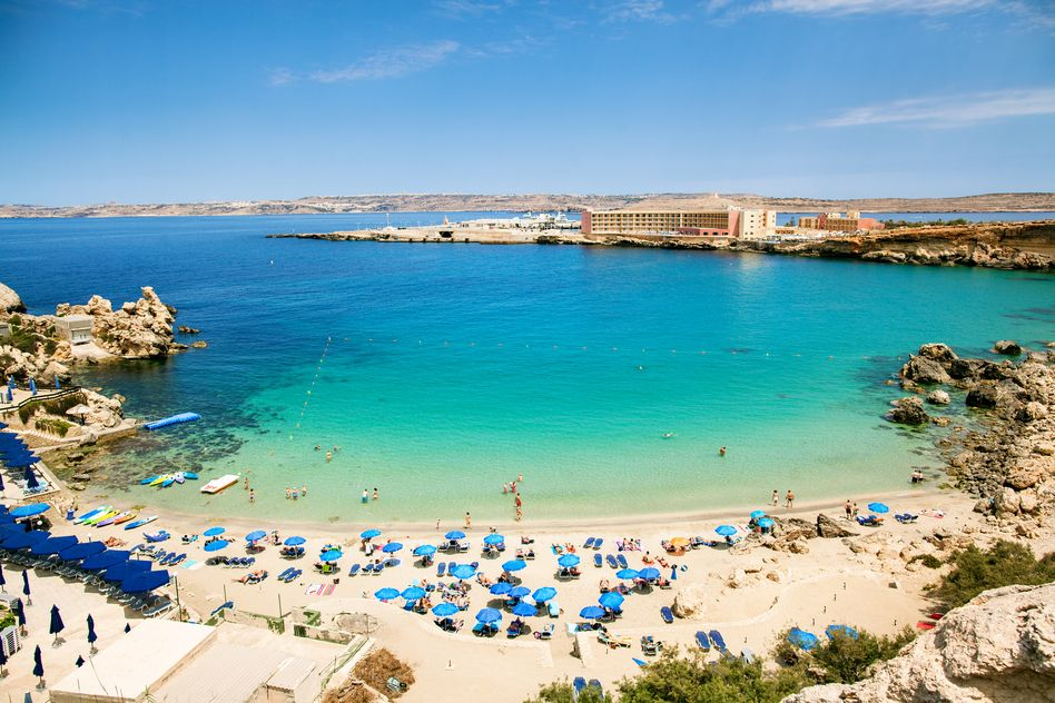 Beach in Malta and turquoise sea