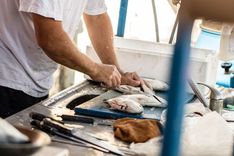 Fish being prepared in Marsaxlokk, Malta