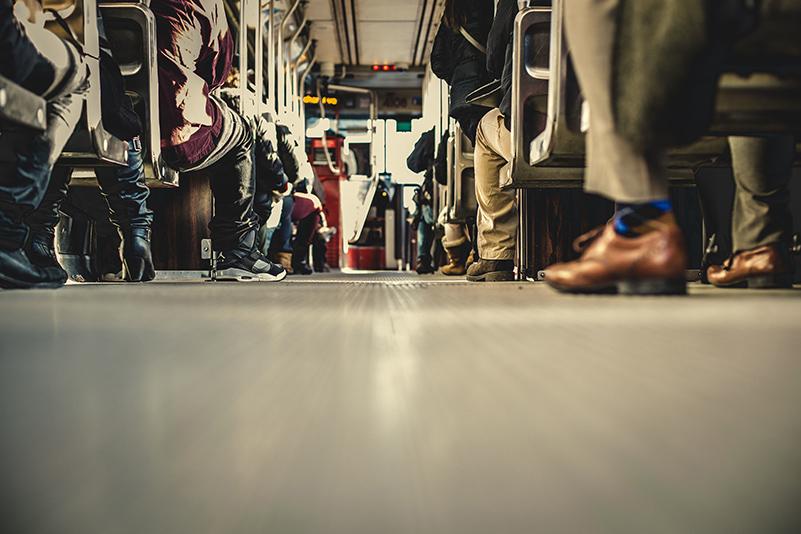 People travelling public transport Corsica