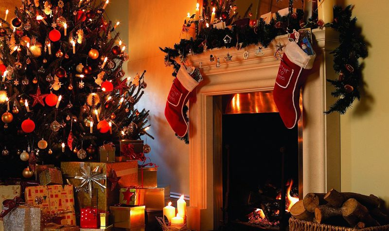Christmas Stockings by the fire, England