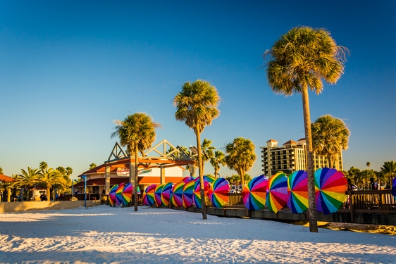 Rainbow parasols on Clearwater beach, Florida