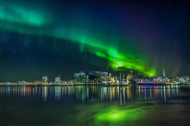 Reykjavik City Northern Lights
