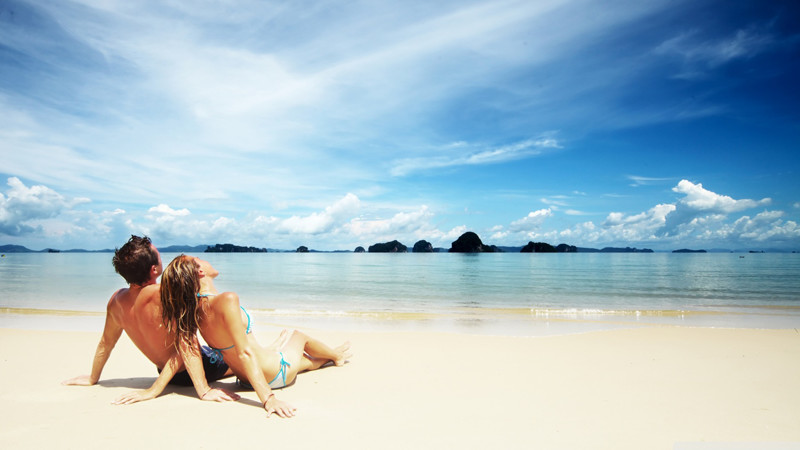 Relaxing on a perfect white sand beach