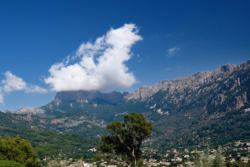 View from the foot of Serra de Tramuntana, overlooking the mountain village of Fornalutx