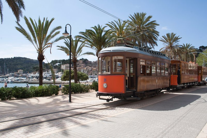 Historic electric tram between Sóller and Port de Soller