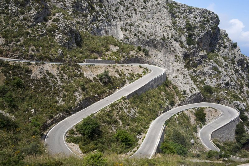 Winding roads of Serra de Tramuntana near Sóller. Cyclists' favourite.
