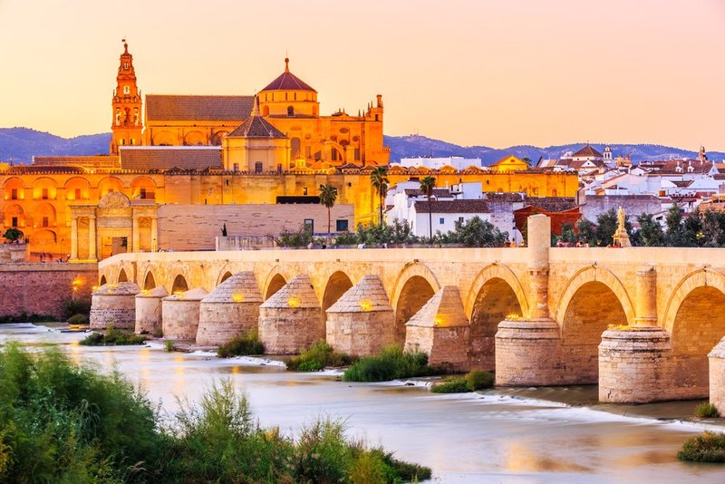 Roman bridge and the Mosque-Cathedral of Cordoba in Andalucia