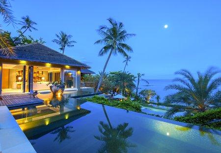 Villa in Chaweng, Koh Samui: External area of master bedroom at Villa 2 of Sangsuri private resort..