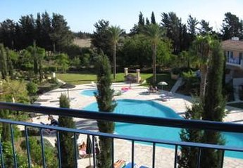 Apartment in Universal, Cyprus: View of pool from balcony