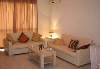 Apartment in Nessebar, Bulgaria: Leather sofa and sofabed equipped with DVD