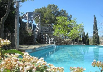 Village_house in Fouzilhon, the South of France: Below castle walls, above ground pool and sun dec..