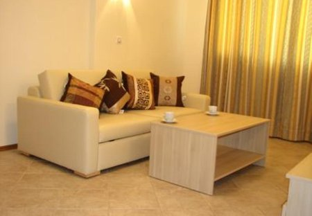 Apartment in Sunny Beach, Bulgaria: Lounge area with Leather Sofa-bed and DVD player