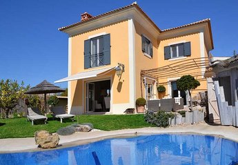 Villa in Quinta da Marinha, Lisbon Metropolitan Area: Swimming pool & terrace with villa in backgr..